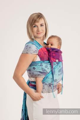 WRAP-TAI carrier Mini with hood/ jacquard twill / 100% cotton - DRAGONFLY- FAREWELL TO THE SUN