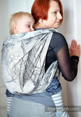 Baby Wrap, Jacquard Weave (60% cotton, 40% bamboo) - Galleons White & Black - size L