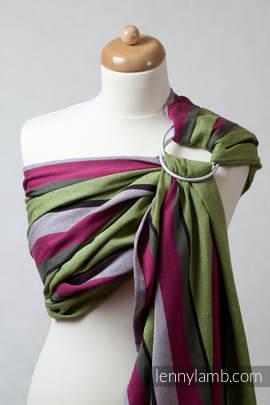 Chusta kółkowa do noszenia dzieci, tkana splotem skośno-krzyżowym  - bawełniana - Limonka z Khaki (drugi gatunek)