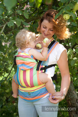 Ergonomic Carrier, Baby Size, broken-twill weave 60% cotton 40% bamboo - wrap conversion from PINACOLADA - Second Generation (grade B)