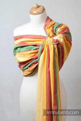 Chusta kółkowa do noszenia dzieci, tkana splotem skośno-krzyżowym  - bawełniana, ramię bez zakładek -  Lato