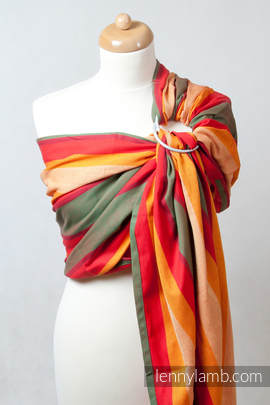Chusta kółkowa do noszenia dzieci, tkana splotem skośno-krzyżowym  - bawełniana, ramię bez zakładek - Jesień