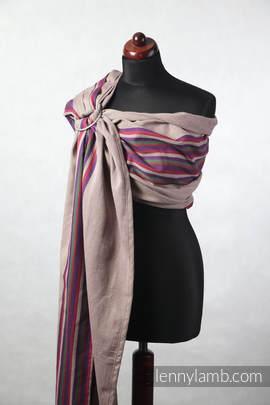 Chusta kółkowa do noszenia dzieci, tkana splotem skośno-krzyżowym, ramię bez zakładek (100% bawełna) - WRZOSOWE NOCE