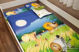 Baby Sheet Set - Safari Night (duvet cover 100x130cm, pillow 40x60cm,  little pillow40x40cm) (grade B)