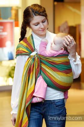 Chusta kółkowa do noszenia dzieci, tkana splotem skośno-krzyżowym, ramię bez zakładek  - bawełniana - Babie Lato