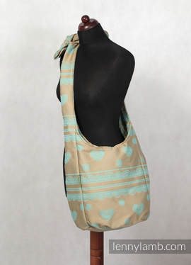 Hobo Bag - 60% Cotton, 40% Polyester - BEIGE & TURQUOISE LACE (grade B)