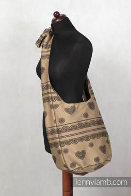 Hobo Bag - 60% Cotton, 40% Polyester - Beige & Black Lace (grade B)
