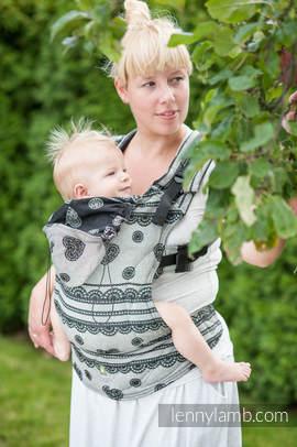 Nosidełko Ergonomiczne z tkaniny żakardowej 100% bawełna , Baby Size, KORONKA GLAMOUR, Rewers - Druga Generacja.