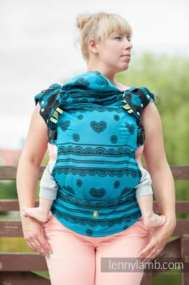 Nosidełko Ergonomiczne z tkaniny żakardowej 100% bawełna , Toddler Size, Boska Koronka, Rewers - Druga Generacja.