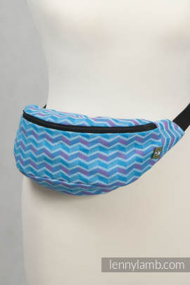 Waist Bag made of woven fabric, (100% cotton) - ZIGZAG TURQUOISE & PINK (grade B)