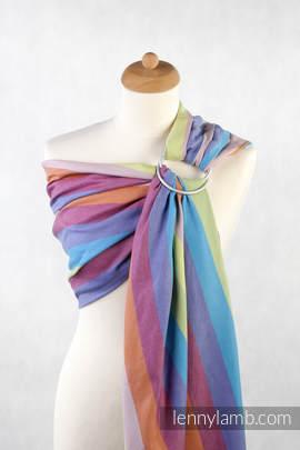 Chusta kółkowa do noszenia dzieci, tkana splotem skośno-krzyżowym - bawełniana, ramię bez zakładek - Rafa Koralowa