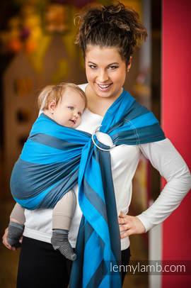 Chusta kółkowa do noszenia dzieci, tkana splotem skośno-krzyżowym, ramię bez zakładek  - bawełniana - Głębia Oceanu