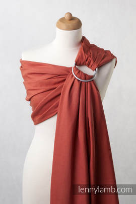 Ringsling, Diamond Weave (100% cotton), with gathered shoulder - Burnt Orange Diamond